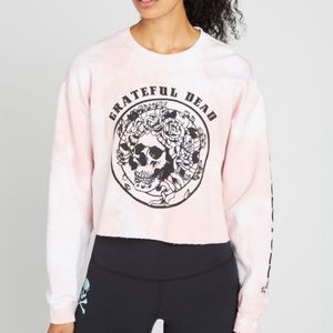 Soul Cycle Grateful Dead Tie Dye Crop Sweatshirt